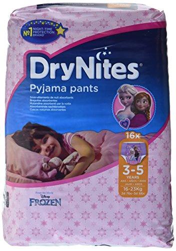 drynites maedchen Huggies DryNites hochabsorbierende Pyjama-/ Unterhosen, Bettnässen Mädchen Jumbo Monatspackung 3-5 Jahre, 64 Stück