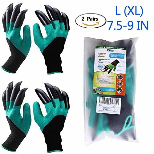 Eiito Garten Handschuhe (Linke Hand und Rechte Hand mit Klauen 2 Paar), gartenhandschuhe pflanz-und garten gartenarbeit handschuhe mit graben klauen, garten gloves arbeitshandschuhe
