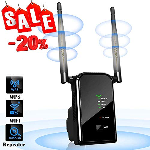 H&L WLAN Router Repeater Verstärker mit Antenna, Network Wi-fi Signal Range Router Extender Verstaerker 300 Mbits 2,4 GHz, 4 IN 1 Wireless Access Point 2 Ethernet Port, Router/Repeater/AP/Client Modus (Iphone Wlan Router)