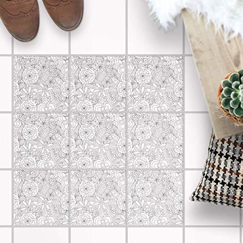Fliesenfolie für - [ Boden Fliesen ] - Aufkleber Folie Sticker für Boden-Fliesen - Küche oder Bad I Fliesensticker als Alternative zu Fliesenlack I 15x15 cm - Design Creative Lines