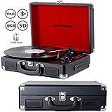 MUSITREND Platine Tourne-Disque Bluetooth, Lecteur de Vinyle 33/45/78, Lecteur USB / SD et Encodage, Lecteur D'enregistrement avec Prise 3,5 mm et AUX in, Line Out pour Haut-Parleur Externe