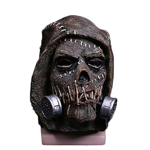 Scarecrow Kostüm - nihiug Vampir Vogelscheuche Horror Maske Halloween Ghost Festival Horror Latex Kopfbedeckung Cosplay Performance Requisiten Helm,Brown-OneSize