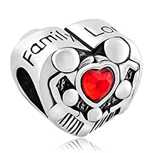 Pugster Damen-Beads Sale Red Herzen Love Kristalle Family/familie Für Bettelarmbänder