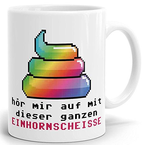 Drucksaal Einhorn Tasse Unicorn mit Spruch Hör Mir auf Einhornscheisse. Geschenke Kaffeetasse hochglänzend - Becher ab 1 Stck. erhältlich. Qualität Made in Germany