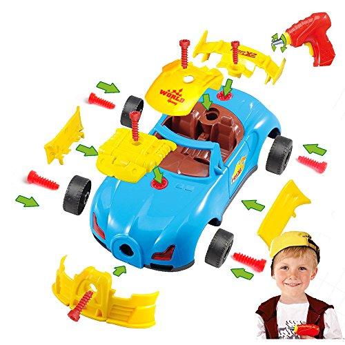 Montage Spielzeug Auto Baufahrzeuge Set Kinder DIY Spielzeug Weihnachtsgeschenk Bohrmaschine Schrauben Werkzeug Kit mit realistischem Klang & Lichter Für Jungen Kinder ab 3 Jahre Alt