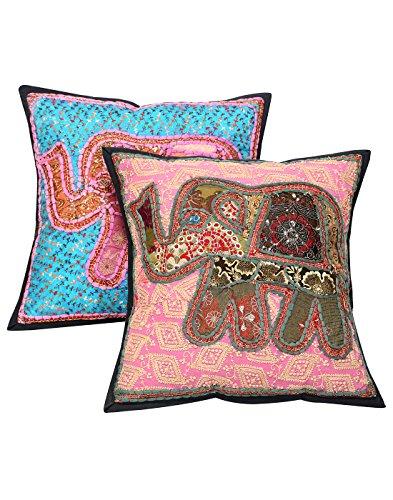 RAJRANG Étnico Cubre Cojines Sofá Elefante Turquesa para la decoración