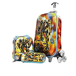 Kris Toy Transformer Hardshell Travel School Bag and Trolley Luggage Suitcase Bag, 3 Wheels School Bag For Kids