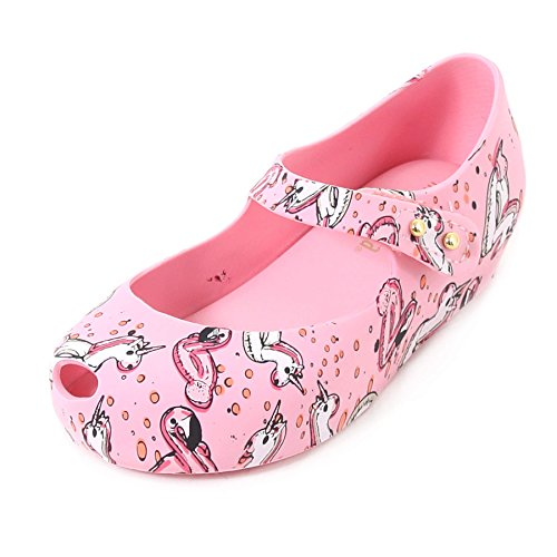 Melissa Mini Ultragirl Holiday Plastic Flat Pink Unicorn-Pink-8 Size 8