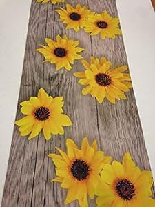 teppich l ufer f r k che sonnenblumen holz motiv maschinenwaschbar antirutschbeschichtet. Black Bedroom Furniture Sets. Home Design Ideas
