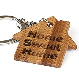Home Sweet Home Eco-Friendly Bamboo Wooden Keyring - Ideal New Home Gift, Car Keys, House Keys