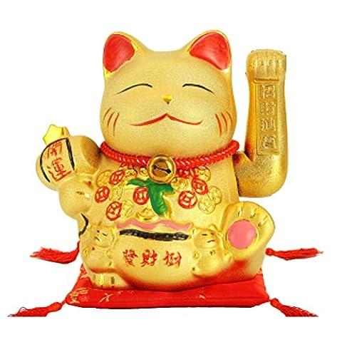 H25CM Porzellan wellenartig bewegende Glück Katze Maneki Neko Japanische Glückskatze # 04 (Ziel Weihnachten Kommerzielle)