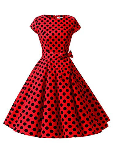 Dressystar Vintage 1950s Polka Dot and Solid Color Party Prom Dresses Rockabilly Cap Sleeves XL Red Black Dot B