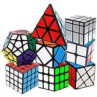 KidsPark Rubix Cube Set 2x2 + 3x3 + 4x4 + Pyraminx + Megaminx + Mirror + Skewb + Hot Wheels Magic Speed Cube Puzzle Toys For Kids & Adults, PVC Sticker Black