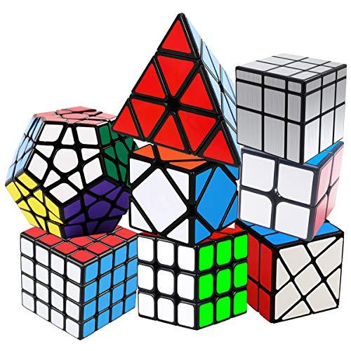 KidsPark Zauberwürfel Set, 8 Pack Speed Cube 2x2 + 3x3 + 4x4 + Pyraminx + Megaminx + Mirror + Skewb + Fenghuolun Magic Puzzle Würfel mit PVC Aufkleber