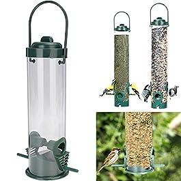 UEETEK Alimentatore per uccelli in plastica Alimentazione del pappagallo appeso Tubo di semi trasparente