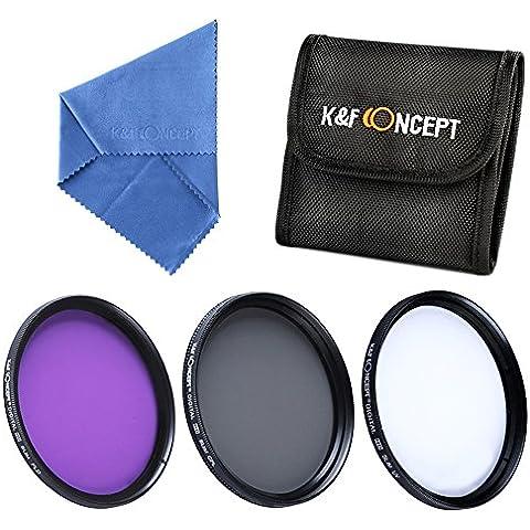 K&F Concept 72MM UV+CPL+FLD Filtro Kit de Accesorios de Lente UV Polarizador Circular Filtro para Canon 7D 60D 70D 500D para Nikon D7000 D600 D300 D800 D7100 para Sony A77 NEX 5 DSLR Cámaras + Paño de Limpieza
