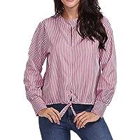 Mujer Manga Larga Camisetas��EUZeo��Moda Hueco Rayas Estampado Botones Camisetas Verano Tops Elegante Blusa Camisas Mujer Fiesta T Shirt