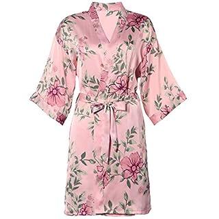 BellisMira Women's Satin Robe Silk Dressing Gown Floral Lace Pajamas Long Nightdress Sexy Ladies Bathrobe Sleep Slip Kimono (Robe Only)