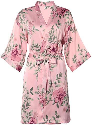 BellisMira Women's Satin Robe Silk Dressing Gown Floral Lace Pajamas Long Nightdress Sexy Ladies Bathrobe Sleep Slip Kimono (Robe Only) -