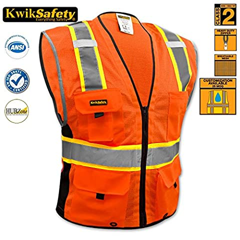 KwikSafety Orange Hi Vis Deluxe Safety Waistcoat | Lightweight Mesh Fabric Vest Multi Pockets Front ZipUp Reflective Gilet | Cycling Gardening Motorbike Security Construction Safety Wear | 4XL/5XL