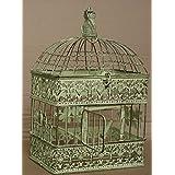 VK4RH - CR - Jaula decorativa de pájaros, estilo colonial, diseño vintage, metal, Altgrün-gelbstich, medium