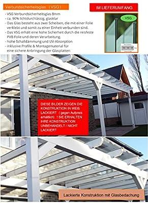 solidBASIC mit VSG GLAS 500 x 350 cm - Terrassenüberdachung Leimholz + Glasdach Verbundsicherheitsglas - Unbehandelt / NATUR - ÜBERDACHUNG TERRASSENDACH HOLZ VORDACH CARPORT TERRASSE WINTERGARTEN LEIMBINDER GARTENLAUBE PAVILLON 5 x 3,5 m von solidus24 b