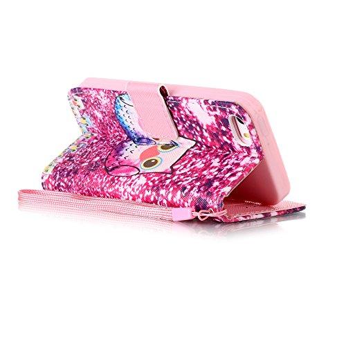 Ekakashop Apple iPhone 6/6s 4,7 Zoll Hülle, iPhone 6s Tasche mit Taljereep, Zeichnung Drucken Bunte PU Leder Schutzhülle Tasche Hüllen Magnetverschluss Handyhülle Case Flip Cover mit Frau und Katze Mo Katzen in einer Reihe