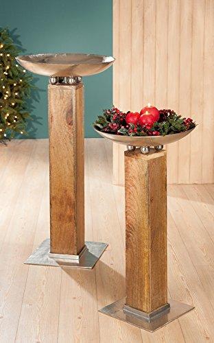 1 x Schalenständer Suono Mangoholz Alu silber Höhe 98 cm, Pflanzschale, Weihnachten, Advent
