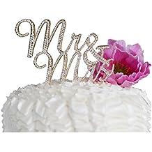 Mr & Mrs Decoración para tarta para decoración para aniversario de boda fiesta