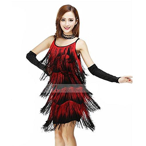 (Pailletten Bauchtanz Kostüm Für Frauen Quasten Bauchtanz Outfit Blau Rot Quasten Latin Dance Kleid Rock Kostüm Body Pailletten Kurzen Rock Leistung Kostüm,Red)