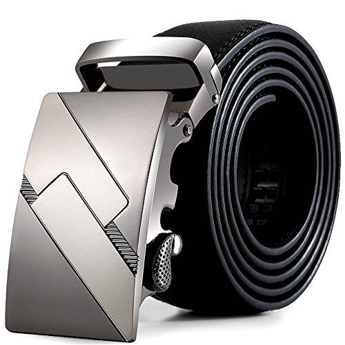 zolimx Cinturones de hombre, cuero automático correa hebilla cinturones (Talla única, B)