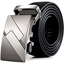 zolimx Cinturones de hombre, cuero automático correa hebilla cinturones
