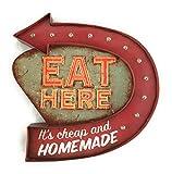 Cartel Eat Here vintage Letrero metálico luminoso Retro Artesanías Accesorios Decoración Hogar Open 24 Hours