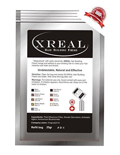 Xreal Poudre capillaire aux microfibres de kératine, pour masquer la calvitie et pour apporter du volume, 25 g Noir (Black)