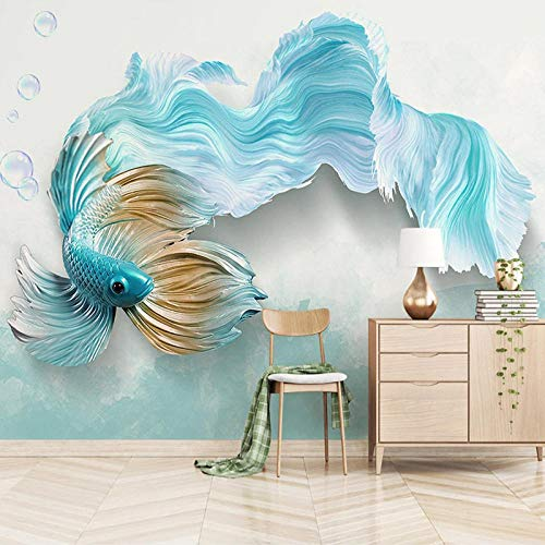 LWATML 3D Tapeten Kundenspezifische Selbstklebende Wandtapete Moderne 3D Abstrakte Blaue Fische Wohnzimmer Sofa Tv Hintergrund Wasserdichte Aufkleber Wand Schlafzimmer-250X175Cm -