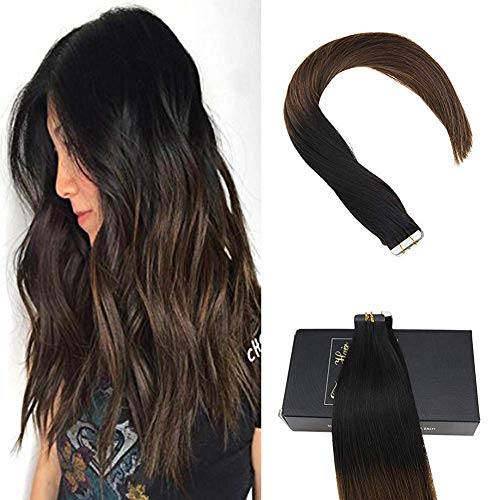 Sunny extension adesive capelli veri ombre nero naturale a marrone scuro extension biadesivo capelli veri 22 pollice/55cm 40pcs/100g 100% remy veri capelli tape in extensions