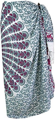 Guru-Shop Sarong, Wandbehang, Wickelrock, Sarongkleid, Herren/Damen, Weiß/grau, Synthetisch, Size:One Size, 160x115 cm, Sarongs, Strandtücher Alternative Bekleidung