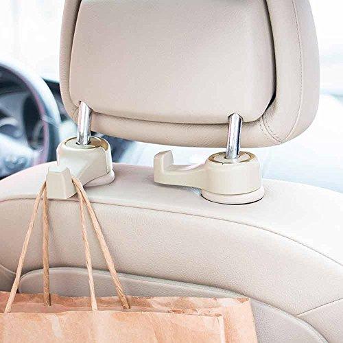 Happyle Auto Kopfstütze Haken mit Schloss - Premium Autositz Kleiderbügel Halter für Handtasche Tasche mit Locker (2 Pack) Weiß