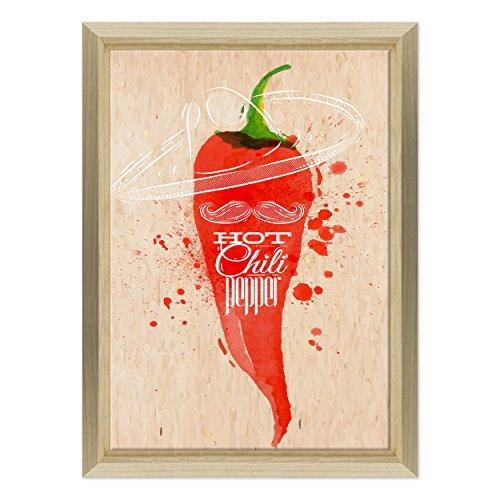 Bild auf Leinwand Canvas–Gerahmt–fertig zum Aufhängen–Hot Chili Pepper–Chili Graphic Design–Möbel Küche Dimensione: 70x100cm E - Colore Legno Naturale Design (Hot Chili Peppers Dekoration)
