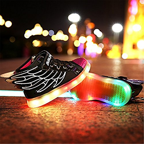 DoGeek 7 Farbe USB Aufladen LED Schuhe Leuchtend Sportschuhe Led Sneaker Turnschuhe Black
