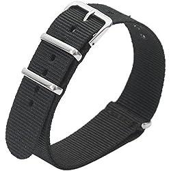 Mens Womens Unisex Nylon Sports Wrist Watch Band Replacement Strap 20mm Black
