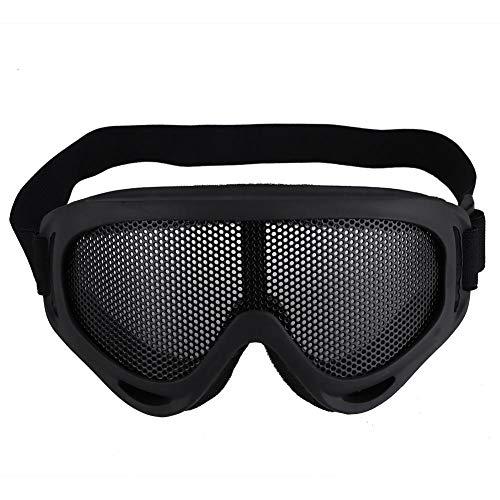 Taktische Airsoft Schutzbrille Metall Mesh Schutzbrillen Radfahren Brille Stoßfestigkeit Stahl Linsen Sonnenbrille Paintball Brillen Augenschutz für Männer Frauen Radfahren Wandern(Schwarz) -