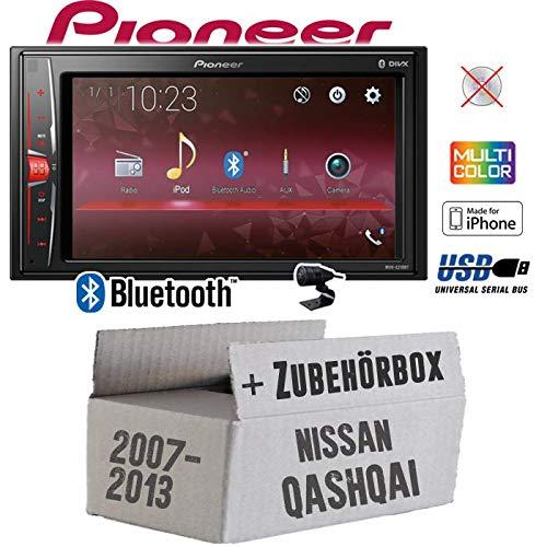 Autoradio Radio Pioneer MVH-A210BT - 2-DIN Bluetooth   MP3   USB   - Einbauzubehör - Einbauset für Nissan Qashqai (J10) bis 2013 - JUST SOUND best choice for caraudio