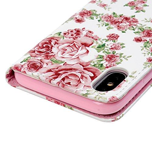 MAXFE.CO Schutzhülle Tasche Case für iPhone X PU Leder Flip Tasche Cover Gemalt Muster im Ständer Book Case / Kartenfach Pflaumenblüte Rose