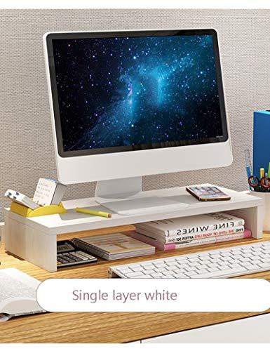 Holz Monitor Stehen Riser Speicherorganisator Büro Computer Desktop Laptop, Drucker Stand Desktop Container (50 cm x 20 cm x 8,2 cm) (Farbe : Weiß)