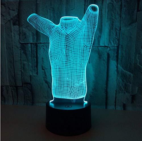 3D 7 Farben ändern T-Shirt Stereo Vision Acryl USB Nachtlicht Kinderzimmer Nachttisch Dekorieren Touch LED Lampe - Leuchtet Nur T-shirts