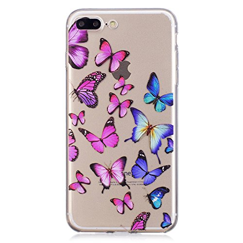Hülle für Apple iPhone 7 Plus / 8 Plus , IJIA Transparent Schwarzes Mädchen Blumen TPU Weich Silikon Stoßkasten Cover Handyhülle Schutzhülle Handytasche mit 360 Grad Drehung Finger Ring Case Tasche fü FD56