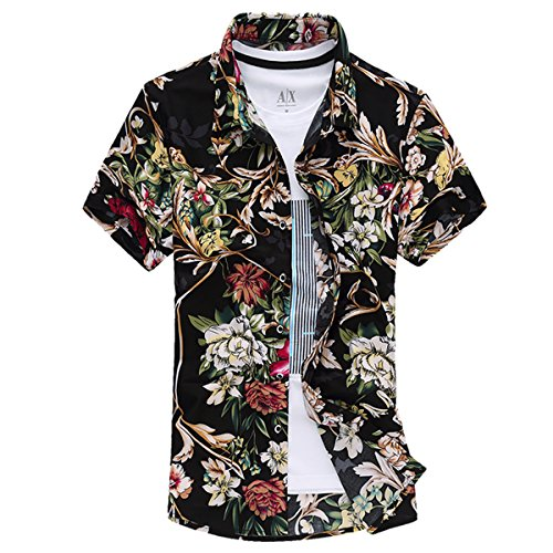 Mirecoo Herren Strand Hemd Hawaii-Print mit Blumen Kurzarm T-Shirt Ferien (Hawaii-print-shirts)