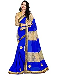Pramukh Suppliers Women's Marble Georgette Blue Embroidery Saree With Blouse Piece
