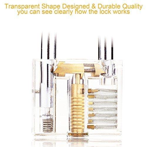 3er-Pack Praxis Lock Set, Geepro Kristall Visible Cutaway von 3 häufigsten Lock-Typen, für Schlosser Ausbildung Verschluss-Auswahl-Satz, enthält 3 verschiedene Arten von Übungs Padlock - 3